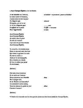 Aux Champs Elysees Fill-In Lyrics