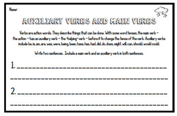 Auxiliary and Main Verbs - 3rd Grade Grammar Assessments