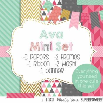 Digital Paper and Frame Mini Set Ava