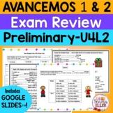 Avancemos 1 & 2 Spanish Final Exam Review BUNDLE Print & D