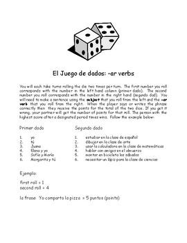 Auténtico 1: 2A -ar Verb Dice Game