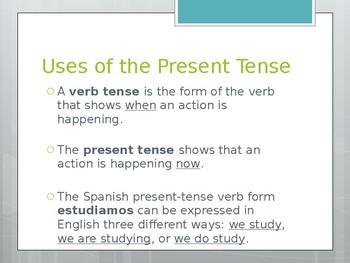 Avancemos 1.3.1 Present Tense of -er and -ir Verbs