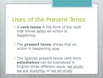Avancemos 1.3.1 Present Tense of -er and -ir Verbs