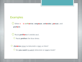 Avancemos 1.4.1 Stem-Changing Verbs e-ie
