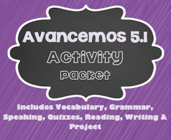 Avancemos 1 - 5.1 - 26 Page Activity Packet!