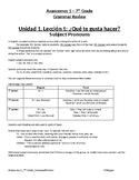 Avancemos 1 - 7th Grade Grammar Reference Packet