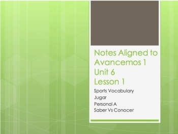 Avancemos 1 Bundle: Unit Notes