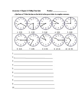 Avancemos 1 Chapter 2.1 Telling Time Quiz