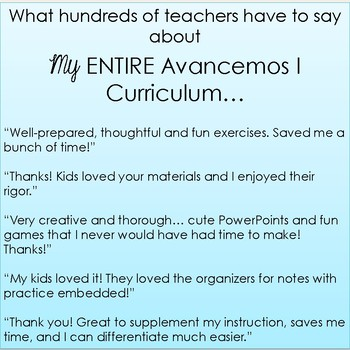 Avancemos 1 ENTIRE Chapter Curriculum - ALL CHAPTERS BUNDLE