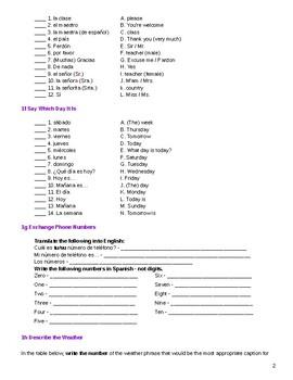 Avancemos 1 Lección Preliminar Study Guide Activities ...