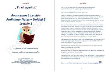 Avancemos 1  Leccion Preliminar - Unidad 5 Lección 1 Lesso