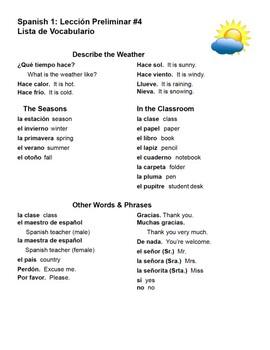 Avancemos 1 Lección Preliminar Vocabulary Lists