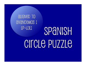 Avancemos 1 Semester 1 Review Circle Puzzle