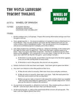 Avancemos 1 Semester 2 Review Wheel of Spanish