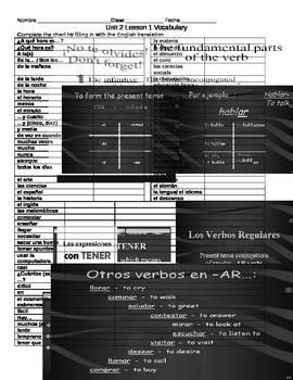 Avancemos 1 U2L1 Tener and Regualr -AR verbs