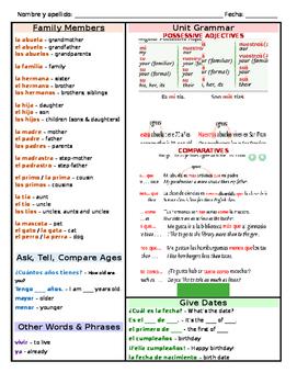 Avancemos 1 U3L2 Spanish Family Vocabulary