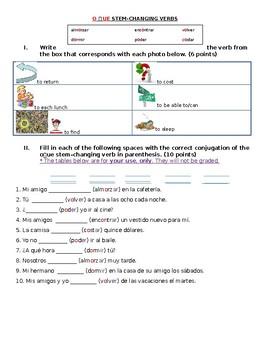 Avancemos 1 U4L2: Quiz O to UE Stem-changing Verbs (2 quizzes)