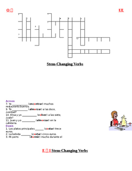 Avancemos 1 U4L2 Stem Change O to UE and E to I Crossword Puzzle