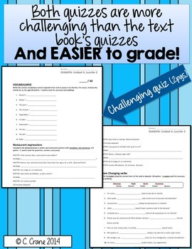 Avancemos 1 U4L2 Two Differentiated QUIZZES