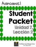 Avancemos 1 Unit 7 Lesson 2 Student Handouts and Notes