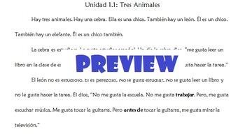 Avancemos 1: Unidad 1.1 Vocabulary Story (Gustar / Activities)