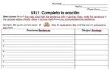 Avancemos 1 Unidad 1 Leccion 1 Complete the Sentence Vocabulary Activity