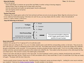 Avancemos 1 - Unidad 2 Leccion 1 - Fun Chapter Review