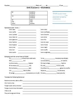 Avancemos 1: Unidad 2, Lección 1 Vocabulary and Grammar