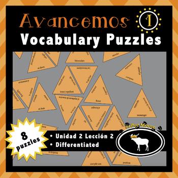 Avancemos 1 Spanish Vocabulary Puzzles (Unidad 2 Lección 2)