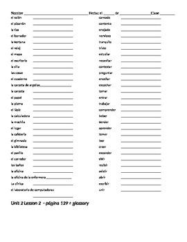 Avancemos 1: Unidad 2, Lección 2 Vocabulary and Grammar