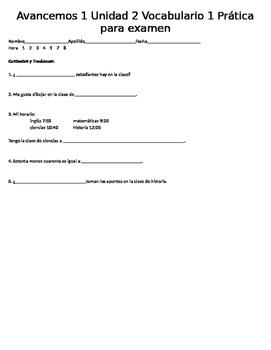 Avancemos 1 Unidad 2 Vocabulario 3 Practice Bellringers 5 Questions each