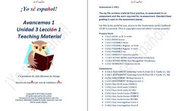 Avancemos 1  Unidad 3 Lección 1  Teaching Material