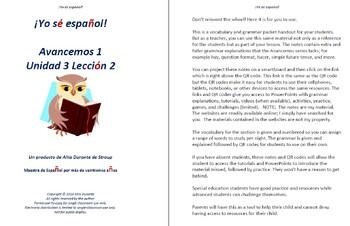 Avancemos 1  Unidad 3 Lección 2 Lessons/Notes/Study Guides