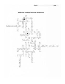 Avancemos 1:  Unidad 3, Lección 1 - Vocab Crossword (extended)
