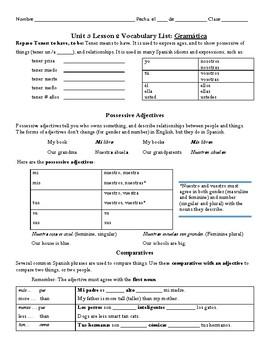 Avancemos 1: Unidad 3, Lección 2 Vocabulary and Grammar