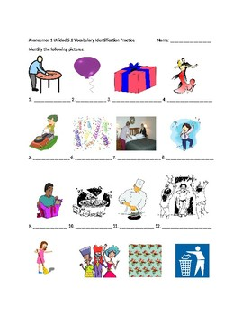 Avancemos 1 Chapter 5 Vocabulary 2 Identification Practice/Quiz
