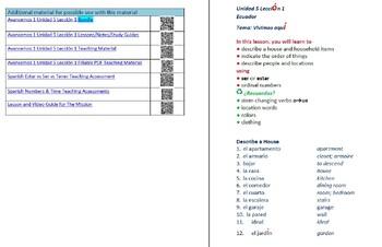 Avancemos 1  Unidad 5 Lección 1 Lessons/Notes/Study Guides