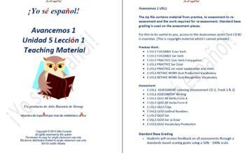 Avancemos 1  Unidad 5 Lección 1  Teaching Material