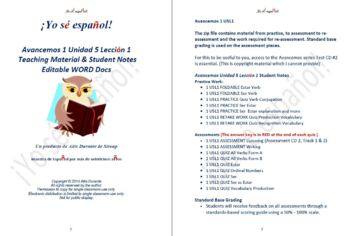 Avancemos 1 Unidad 5 Lección 1 Teaching Material & Student Notes Editable WORD