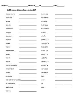 Avancemos 1: Unidad 5, Lección 1 Vocabulary and Grammar