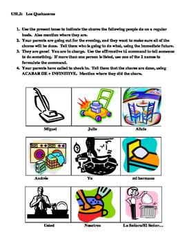 Avancemos 1 Unidad 5 Lección 2 Chores Speaking Activity wi