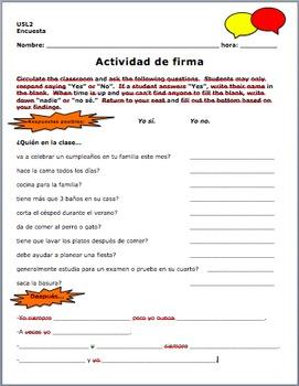Avancemos 1 Unidad 5 Lección 2 Communicative Survey Activity