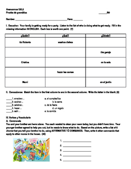 Avancemos 1 Unidad 5 Lección 2  Grammar Quiz