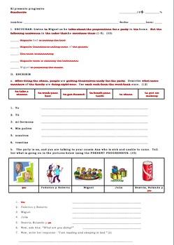 Avancemos 1 Unidad 8 Lección 1 Present Progressive and Reflexive Verb Short Quiz