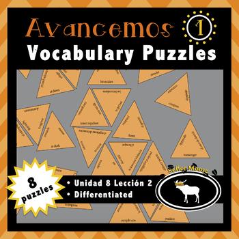 Avancemos 1 Spanish Vocabulary Puzzles (Unidad 8 Lección 2)