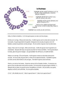 Avancemos 1 Unit 1 Lesson 1 Rainbow Reading