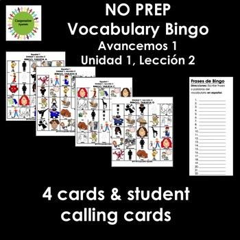Avancemos 1, Unit 1, Lesson 2 Zero Prep Bingo
