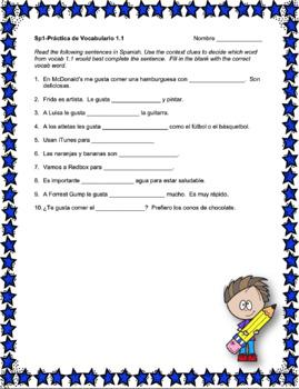Avancemos 1 Unit 1 Vocabulary Activity