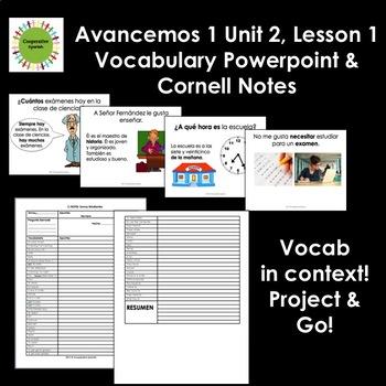 Avancemos 1, Unit 2, Lesson 1 Vocabulary Presentation & Student Notes