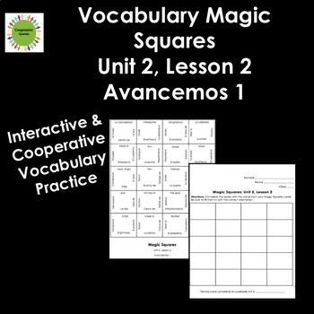 Avancemos 1 Unit 2, Lesson 2 Vocabulary Magic Squares